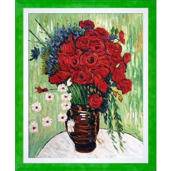 """La Pastiche by overstockArt Vase with Daisies and Poppies by Vincent Van Gogh with Jubilee Stacked Frame, 20"""" x 24"""""""