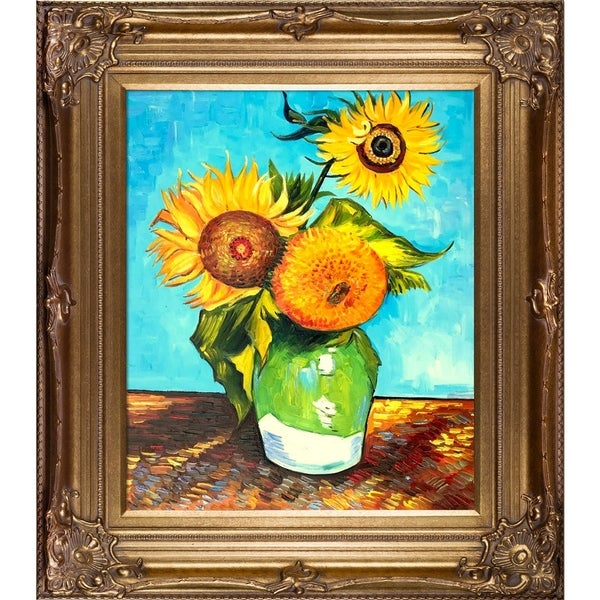 d5058feda67f2 Shop Vincent Van Gogh 'Sunflowers, First Version' Hand Painted Oil ...