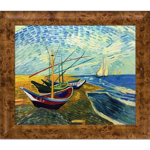 Vincent Van Gogh 'Fishing Boats on the Beach at Saintes-Maries' Hand Painted Oil Reproduction