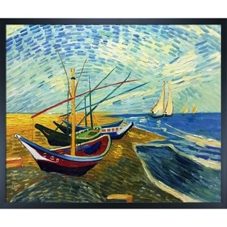 La Pastiche by overstockArt Fishing Boats on the Beach at Saintes-Maries by Vincent Van Gogh with Studio Wood Frame,