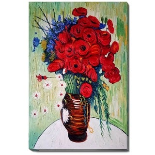 Vincent Van Gogh 'Vase with Daisies and Poppies' Hand Painted Oil Reproduction