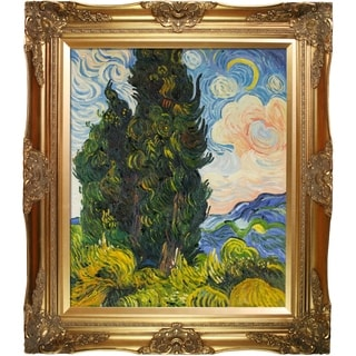 Vincent Van Gogh 'Two Cypresses' Hand Painted Oil Reproduction