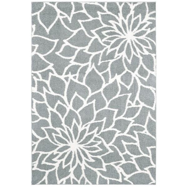"Porch & Den Pennington Grey Floral Microfiber Area Rug - 6'7"" x 9'6"""