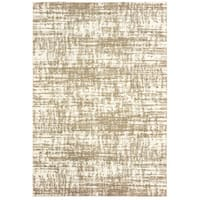 Oliver & James Pilo Ivory and Taupe Distressed Area Rug - 6'7 x 9'6