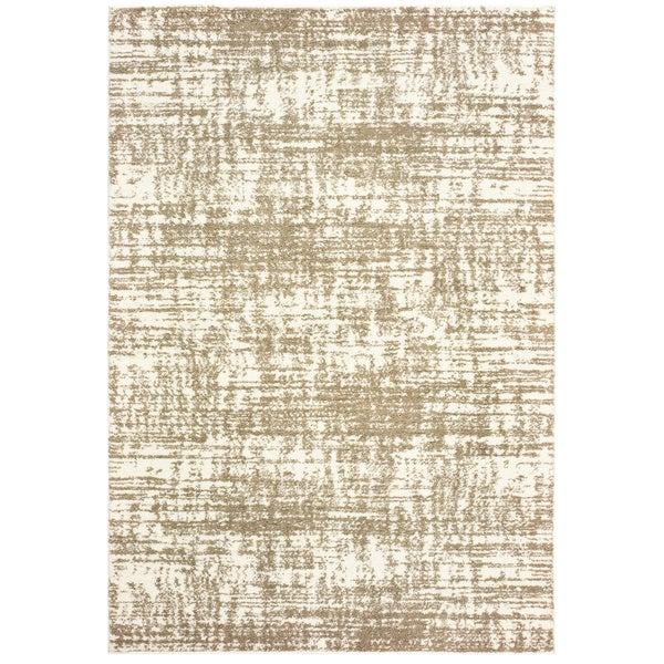 """Strick & Bolton Pilo Ivory and Taupe Distressed Area Rug - 6'7"""" x 9'6"""""""