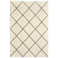 Style Haven Diamond Lattice Ivory/Brown Microfiber Rug - 6' 7 x 9' 6