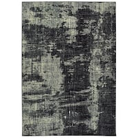 "Style Haven Black/Ivory Microfiber Distressed Abstract Area Rug (6'7 x 9'6) - 6'7"" x 9'6"""