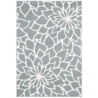 "Strick & Bolton Benka Grey Floral Microfiber Area Rug - 5'3"" x 7'6"""