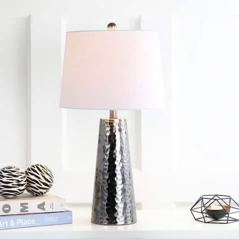 "Wells 26"" Hammered Metal LED Table Lamp, Black Nickel by JONATHAN Y"