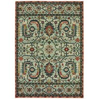 The Curated Nomad Clemente Vintage Tribal Green/Rust Area Rug - 5'3 x 7'6