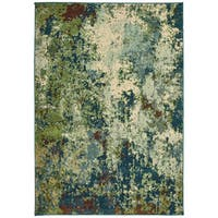 "Style Haven Abstract Distressed Blue/Green Area Rug (5'3 x 7'6) - 5'3"" x 7'6"""