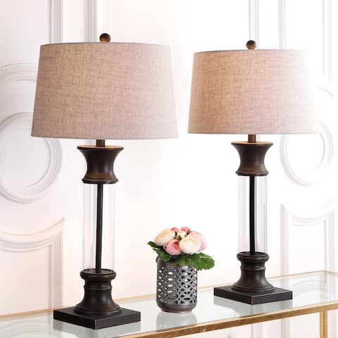 """Hunter 32"""" Metal/Glass LED Table Lamp, Bronze (Set of 2) by JONATHAN Y"""
