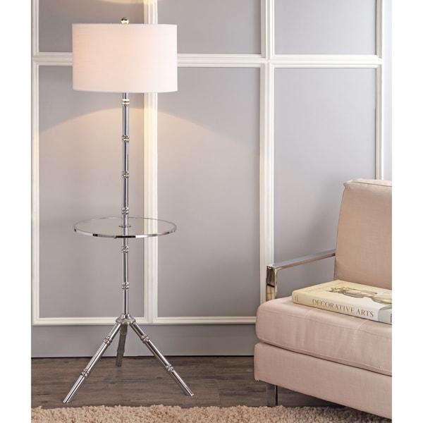 "Hall 62"" Metal LED End Table Floor Lamp, Chrome"