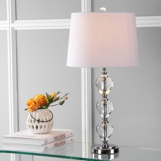 "Cole 27"" Crystal LED Table Lamp, Clear/Chrome"