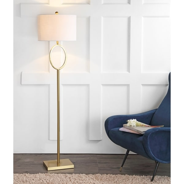 "April 61"" Metal LED Floor Lamp, Brass"