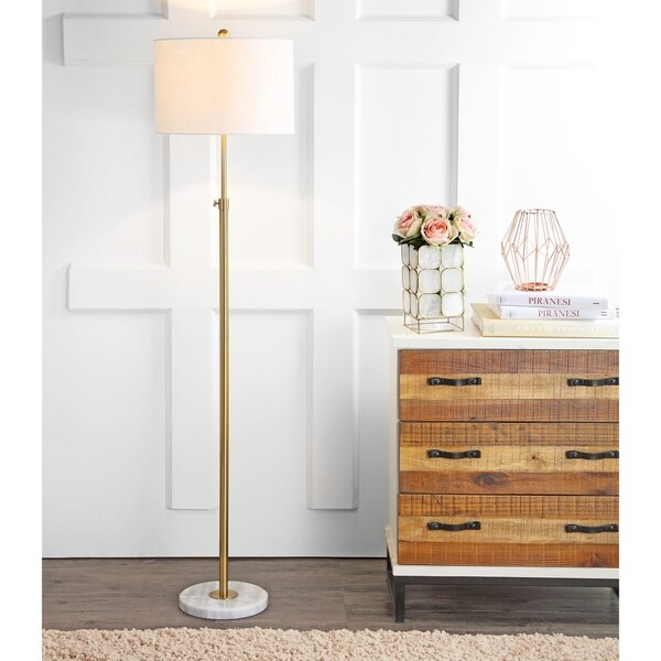 "June 65"" Adjustable Metal/Marble LED Floor Lamp, Brass"