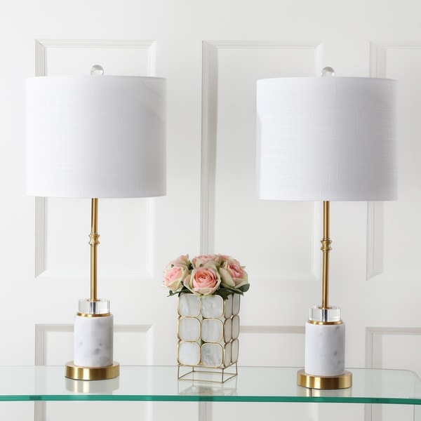"""Harper 27"""" Marble/Crystal LED Table Lamp, Brass (Set of 2) by JONATHAN Y"""