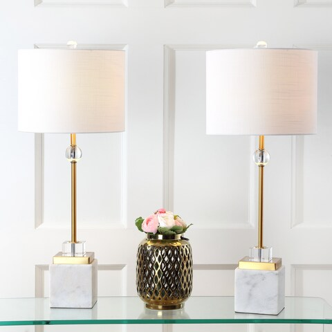 """Dawson 30"""" Marble/Crystal LED Table Lamp, Brass (Set of 2)"""