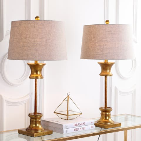 "Hunter 32"" Metal/Glass LED Table Lamp, Gold Leaf (Set of 2) by JONATHAN Y"