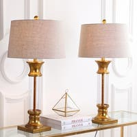 """Hunter 32"""" Metal/Glass LED Table Lamp, Gold Leaf (Set of 2) by JONATHAN  Y"""