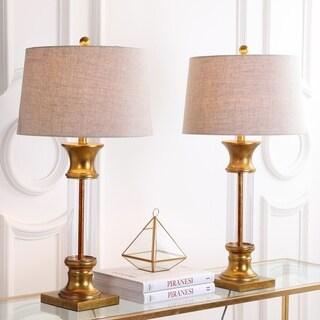 """Hunter 32"""" Metal/Glass LED Table Lamp, Gold Leaf (Set of 2)"""
