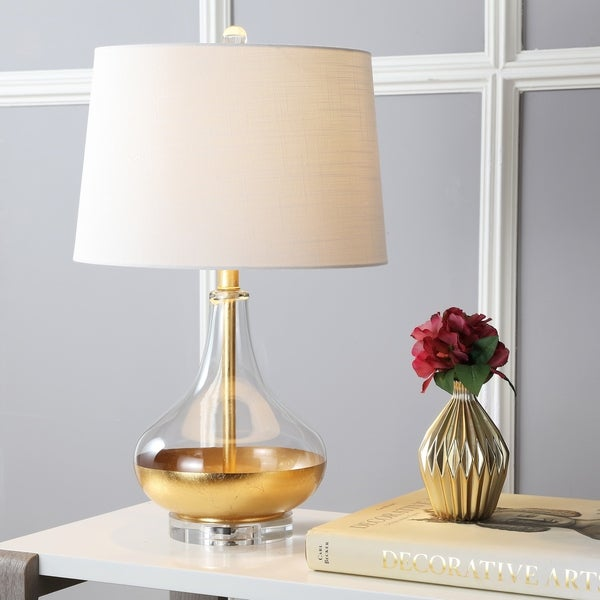 "West 24.5"" Glass LED Table Lamp, Gold Leaf"