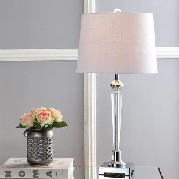 "Foster 28.25"" Crystal LED Table Lamp, Clear/Chrome"
