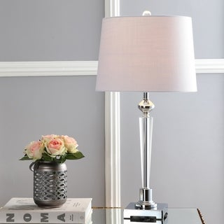 "Foster 28.25"" Crystal Table Lamp, Clear/Chrome by JONATHAN Y"