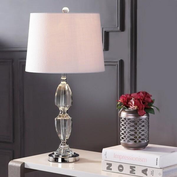 """Graham 27"""" Crystal LED Table Lamp, Clear/Chrome"""