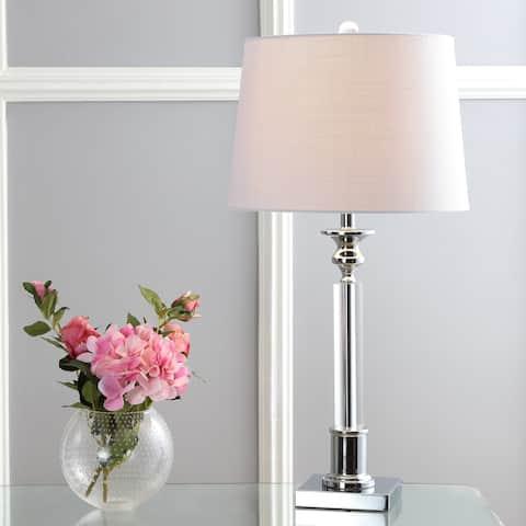 "Dean 28"" Crystal LED Table Lamp, Clear/Chrome by JONATHAN Y"