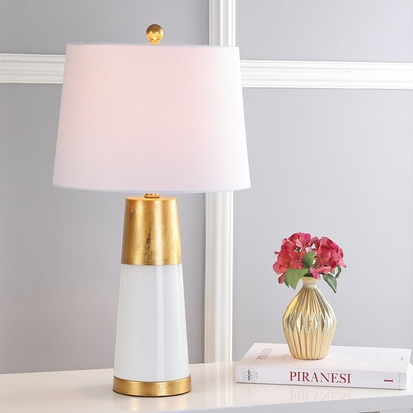 "May 26.25"" Bubble Glass LED Table Lamp, White with Gold Leaf"