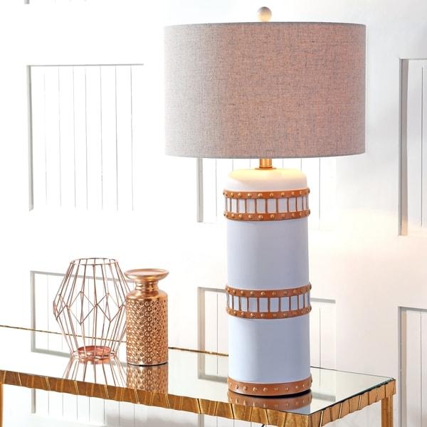 """Fraser 31"""" Resin LED Table Lamp, Gray/Gold"""