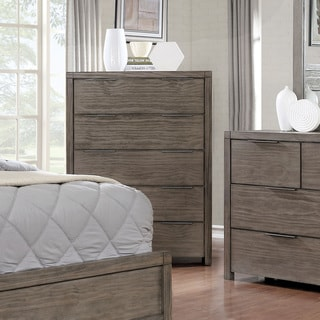 Furniture of America Ziva Rustic Grey Solid Wood 5-drawer Chest