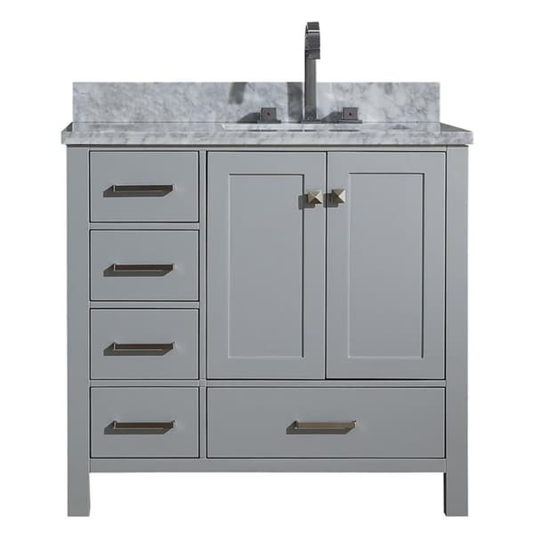 Shop ariel cambridge grey 37 inch right offset single sink - Bathroom vanity with right offset sink ...