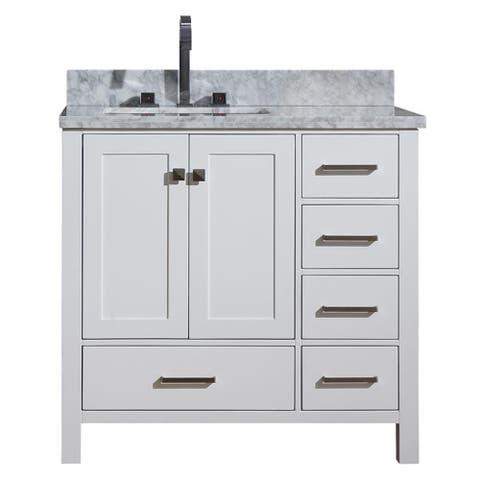 Ariel Cambridge 37 In. Left Offset Single Sink Vanity In White