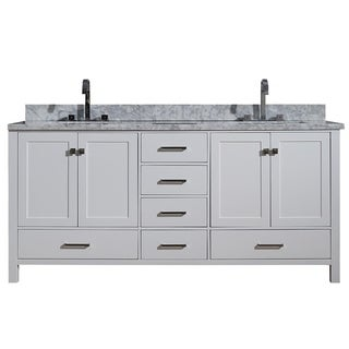 Ariel Cambridge White Wood/White Carrara Marble Top 73-inch Double-sink Vanity