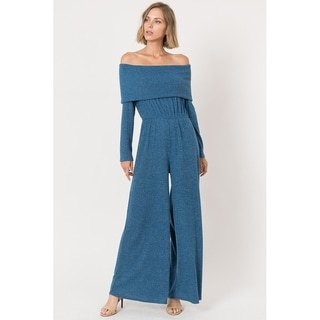 JED Women's Ribbed Knit Fabric Off-Shoulder Wide Leg Jumpsuit