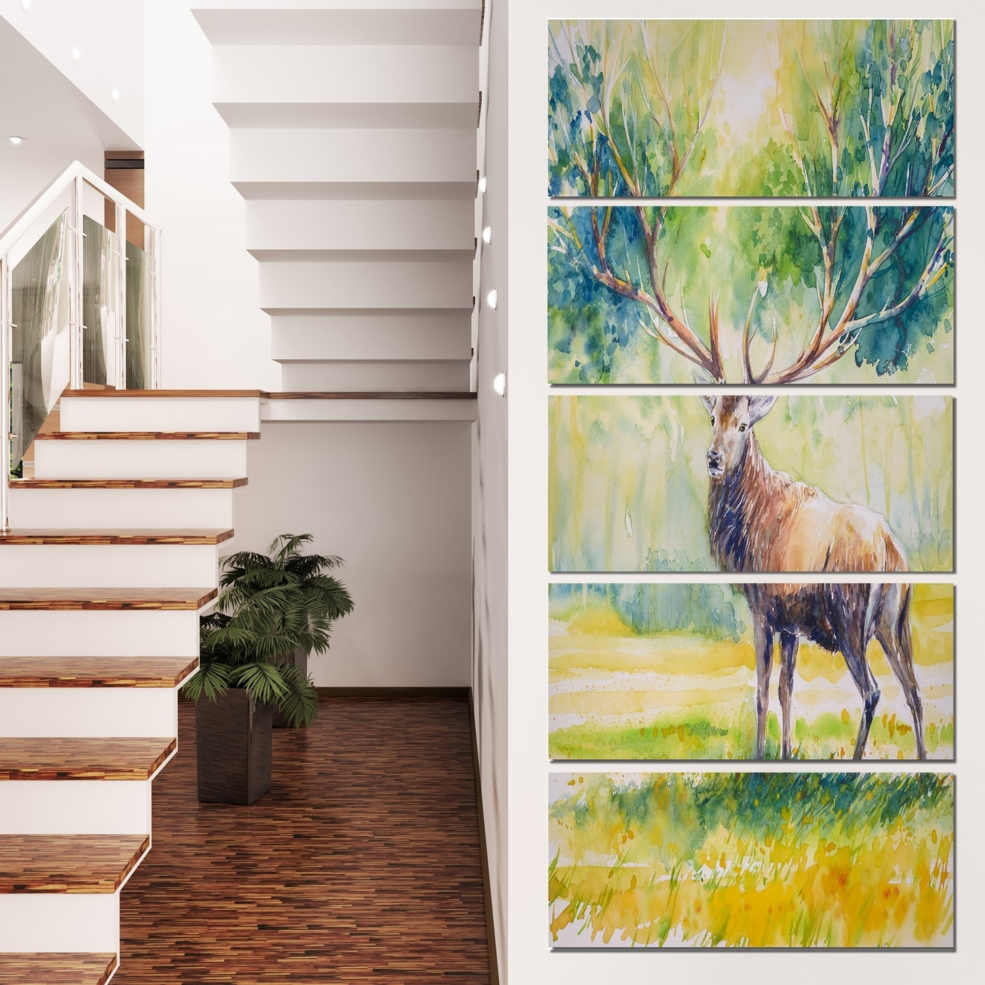 Stag in Grass Animals SINGLE CANVAS WALL ART Picture Print