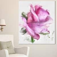 Designart 'Pink Rose Drawing Watercolor' Modern Floral Canvas Wall Art