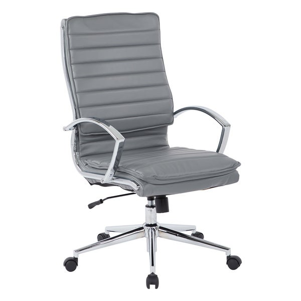 High Back Professional Managers Faux Leather Chair with Chrome Base and Removable Sleeves
