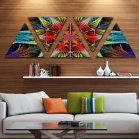 Designart 'Colorful Fractal Stained Glass' Contemporary Triangle Canvas Art Print - 5 Panels