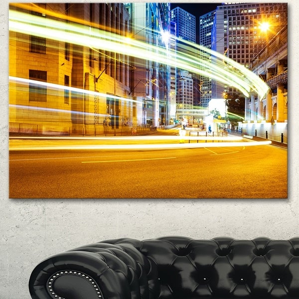 Designart \'Blur Motion Traffic Trail in Modern City\' Extra Large ...