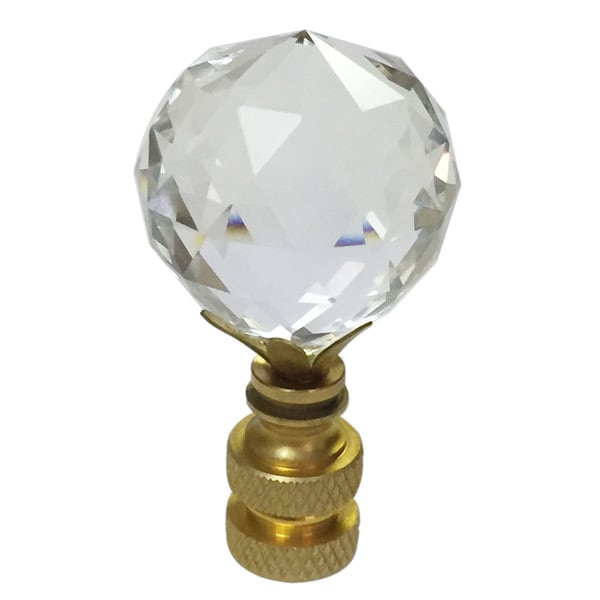 Royal Designs Large Faceted Diamond Cut Clear K9 Crystal Lamp Finial for Lamp Shade with Polished Br