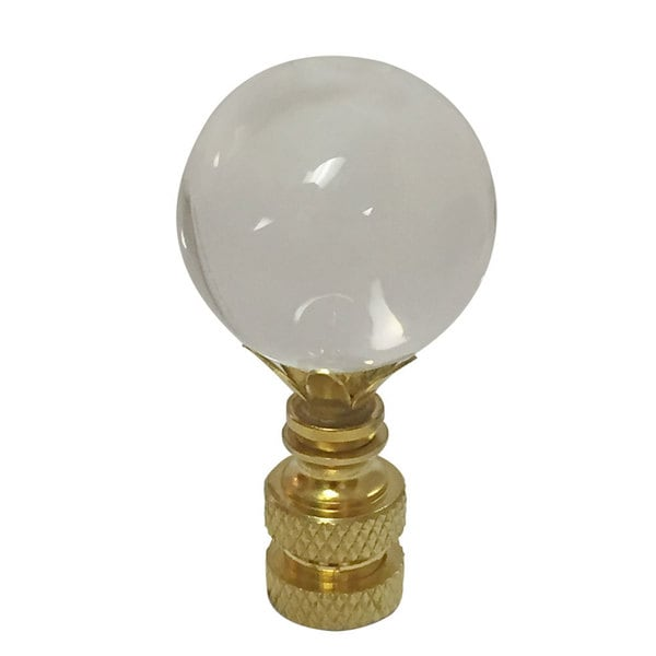 Royal Designs Large Clear Ball K9 Crystal Lamp Finial for Lamp Shade with Polished Brass Base
