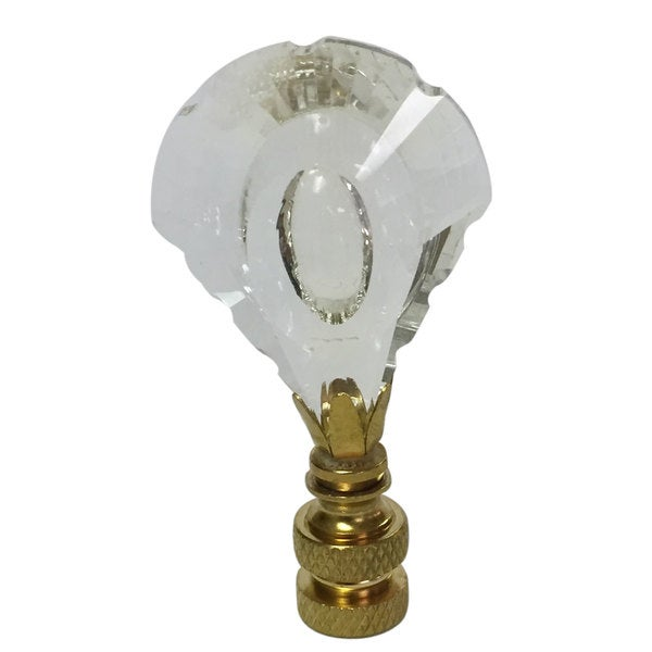 Royal Designs Designer K9 Crystal Cut Clear Lamp Finial for Lamp Shade with Polished Brass Base