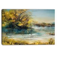 Designart - Trees by the Lake - Landscape Canvas Art Print