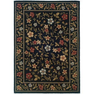 Floral Black Rug (3'3X5'5)
