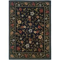 """Floral Black Rug (3'3X5'5) - 3'2"""" x 5'5"""""""