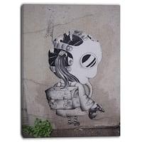 Designart - Rat Catcher Robot - Street Art Canvas Print