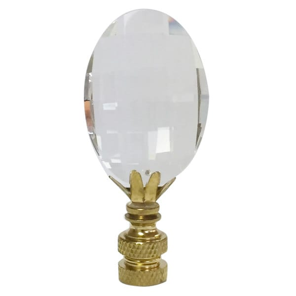 Royal Designs Oval Radiance Cut Clear K9 Crystal Lamp Finial For Lamp Shade with Polished Brass Base